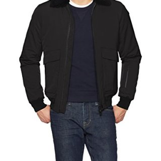 J.Lindeberg Men's Stretch Pilot Jacket, Black, Medium