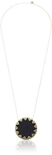 """House of Harlow Black Leather Sunburst Pendant Necklace, 28"""""""