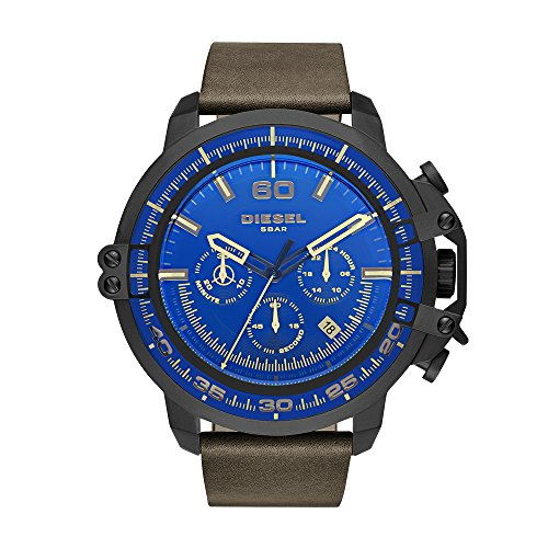 Diesel Men's 'Deadeye' Quartz Stainless Steel and Leather Casual Watch, Color Brown