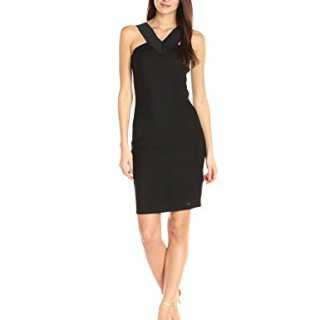 A|X Armani Exchange Women's X Neck Line Little Bodycon Dress, Black, Medium
