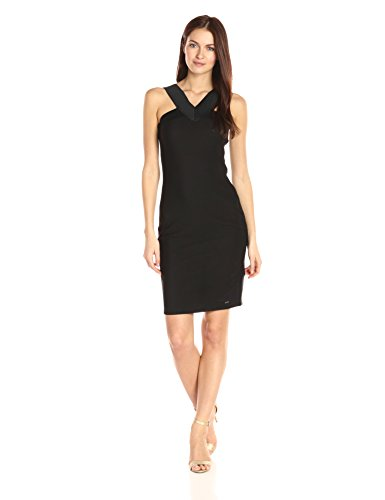A|X Armani Exchange Women's X Neck Line Little Bodycon Dress, Black, Medium