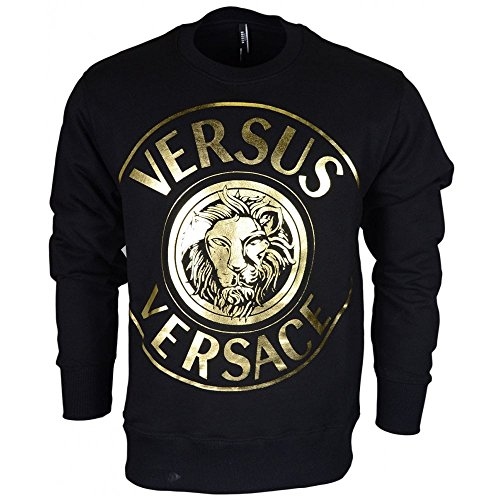 Versace Cotton Round Neck Black/Gold Sweatshirt S Black