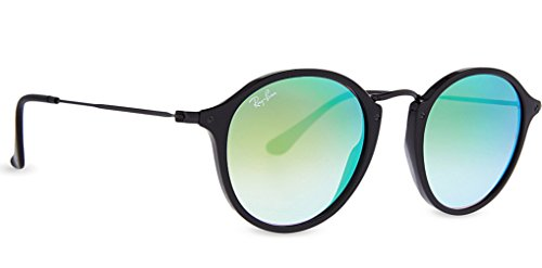 Ray-Ban Acetate Man Sunglasses - Shiny Black Frame Mirror Gradient Green Lenses 49mm Non-Polarized