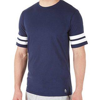 Original Penguin Men's Double Stripe Short Sleeve Crew Neck Tee, Blue/Blue/Blue, L