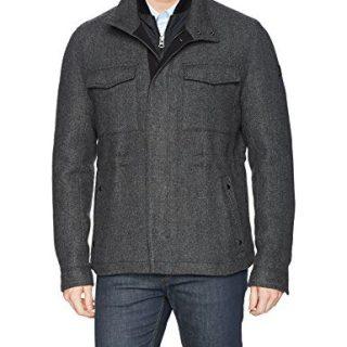 BOSS Orange Men's Ofalcon Modern Wool Field Jacket, Charcoal, 36R