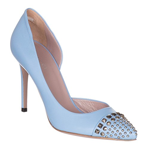 Gucci Women's Mineral Blue Leather Studded Stiletto Heels Shoes, Blue, 9