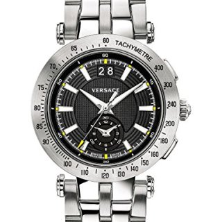 Versace Men's 'V-Race' Swiss Quartz Stainless Steel Casual Watch, Color Silver-Toned
