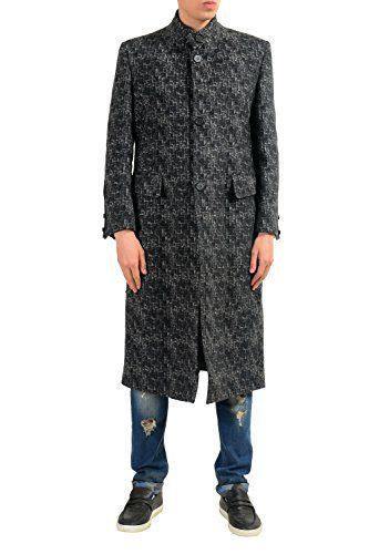 Versace Men's 100% Wool Two Tones Button Up Coat US S IT 48