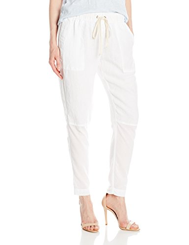 Enza Costa Women's French Linen Voile Panel Easy Pant, White, 3