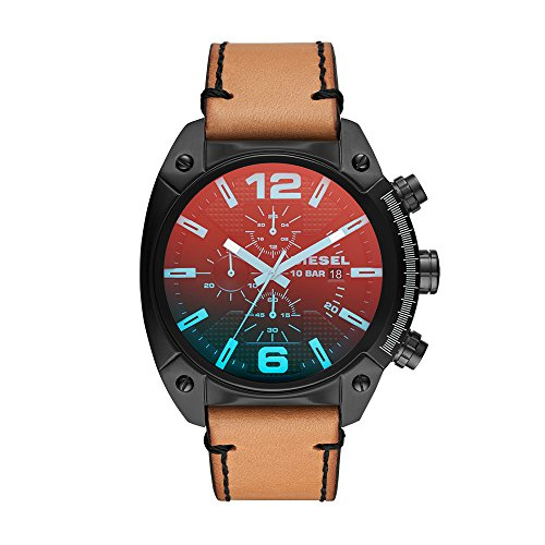Diesel Men's 'Overflow' Quartz Stainless Steel and Leather Casual Watch, Color Brown (Model: DZ4482)