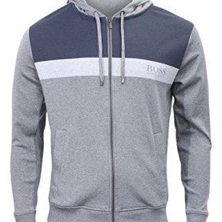 Hugo Boss Homeleisure Hooded Medium Grey Cotton Jersey Sweatshirt Jacket Sz: S