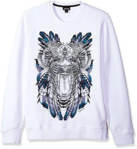 Just Cavalli Men's Graphic Sweatshirt, White, L