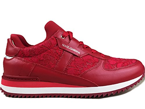 Dolce & Gabbana Red Lace Leather Sneakers Shoes Trainers