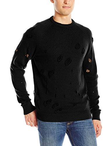 Publish Brand INC. Men's Midas Destructed Hoodie, Black, XXX-Large