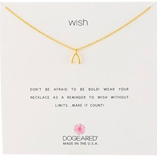 """Dogeared Reminders- Wish Gold Dipped Sterling Silver Wishbone Charm Necklace, 16"""" w/2"""" Extender"""