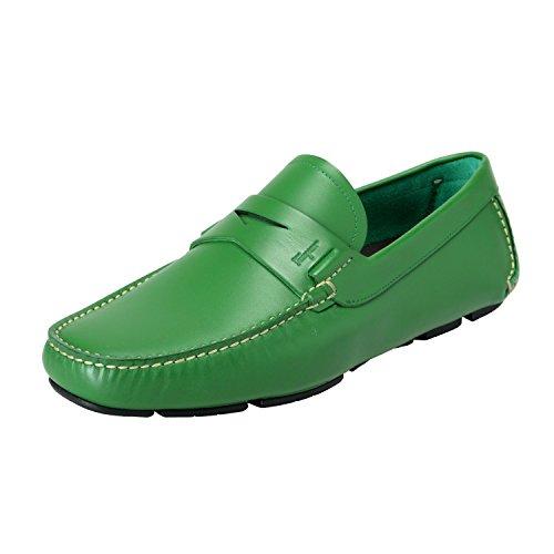 Salvatore Ferragamo Men's Lake Green Leather Driving Moccasins Shoes US 10EEE IT 9EEE EU 43EEE