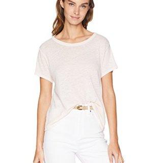 Enza Costa Women's Hemp Cotton Easy Short Sleeve Crew Neck T-Shirt, Peony, L