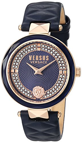 Versus by Versace Women's 'COVENT GARDEN CRYSTAL' Quartz Stainless Steel and Leather Casual Watch, Color Blue