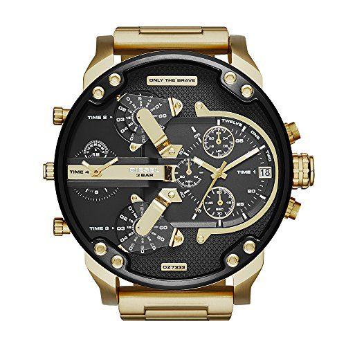 Diesel Men's Mr Daddy 2.0 Quartz Stainless Steel Chronograph Watch, Color Gold-Tone (Model: DZ7333)