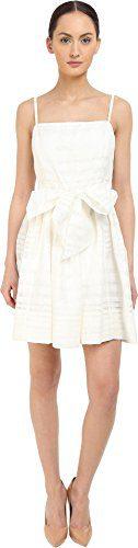 Kate Spade New York Women's Ribbon Organza Bow Dress Fresh White 4
