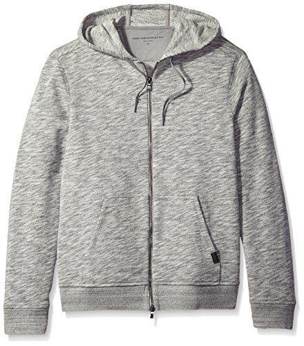 John Varvatos Men's 2-Way Zip Hooded Sweater, Grey Heather, X-Large