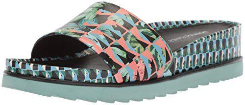 Donald J Pliner Women's Cava Slide Sandal, Black Geo Jungle, 6.5 Medium US