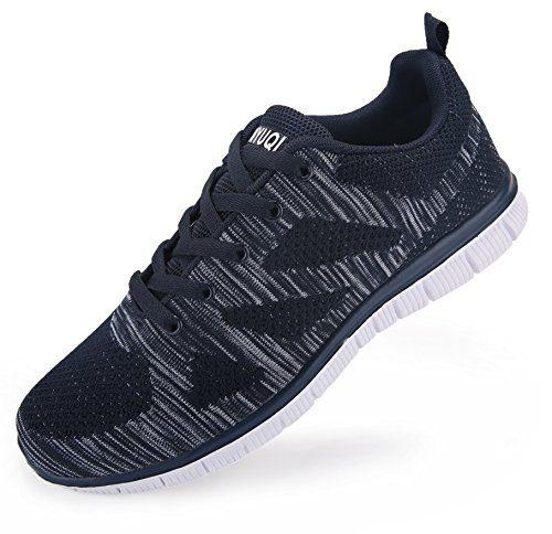 Vibdiv Men's Lightweight Lace-Up mesh distance running shoes(11 D(M) US,45,Blue)