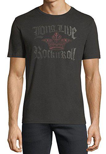John Varvatos Men's Long Live Rock n' Roll Crown Crew T-Shirt Medium Black