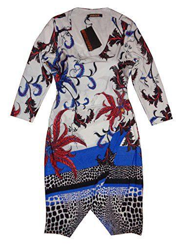 Roberto Cavalli Women's Mid-Calf Dress Long Sleeves Medium Multicolor