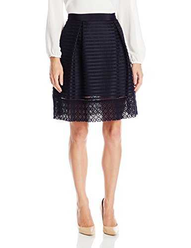 Ted Baker Women's Lotee Lace and Mesh Panelled Skirt, Navy, 3