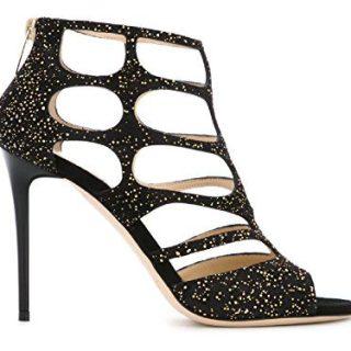 JIMMY CHOO Women's Ren Black Leather Sandals