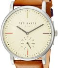 Ted Baker Men's 'NOLAN' Quartz Stainless Steel and Leather Casual Watch, Color Brown