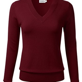 FLORIA Womens Soft Basic Thick V-Neck Pullover Long Sleeve Knit Sweater Marsala XL