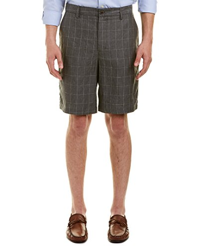 Robert Graham Men's Storm Linen Classic Fit Woven Shorts, Grey, 36