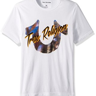 True Religion Men's Dessert Horseshoe Tee, Optic White, M