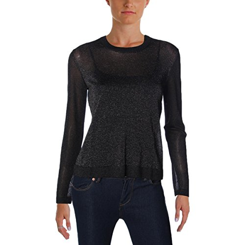 Marc by Marc Jacobs Womens Laurie Sheer Metallic Pullover Sweater Black XS