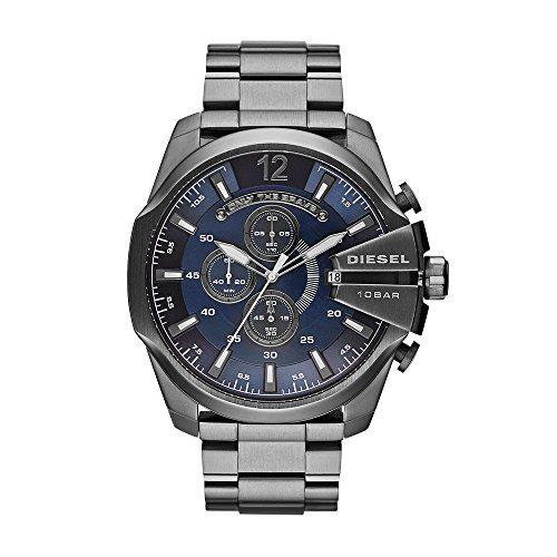 Diesel Men's Mega Chief Quartz Stainless Steel Chronograph Watch, Color Grey (Model: DZ4329)
