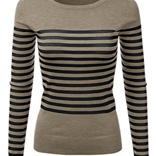 JJ Perfection Women's Striped Knit Long Sleeve Round Neck Pullover Sweater CAMELBLACK XL