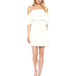 Trina Turk Women's Mirador Off The Shoulder Dress, White Wash, 8