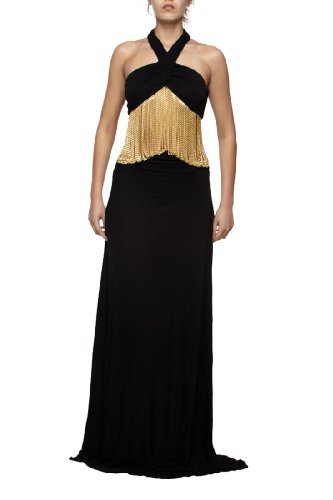 Roberto Cavalli - Dress Black Gold Chains, 40, Black