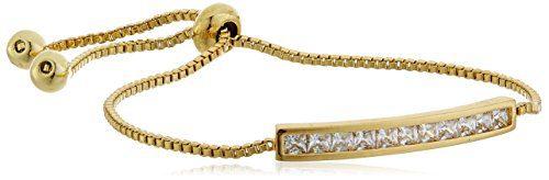 CZ by Kenneth Jay Lane Basic 4cttw Round Cubic Zirconia Gold Adjustable Shambala Chanel Set Identification Bracelet