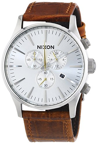 NIXON Men's 'Sentry' Quartz Stainless Steel and Leather Casual Watch, Color Brown