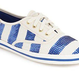 Kate Spade New York Ked's Kicks Nautical Sequin Stripe Cobalt Blue White Sneakers (7.5)