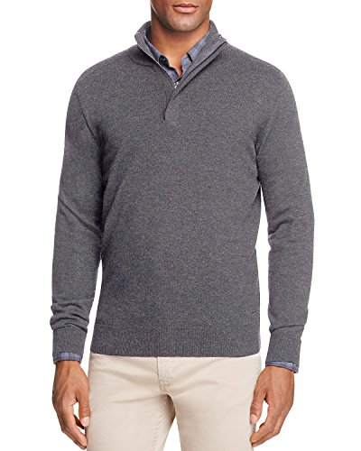 BOSS Hugo Boss Men's BONNY 1/4 ZIP VIRGIN WOOL BLEND jumper SWEATER (Charcoal, M)