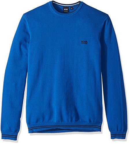 BOSS Green Men's Rime Crewneck Sweatshirt, True Blue, Small