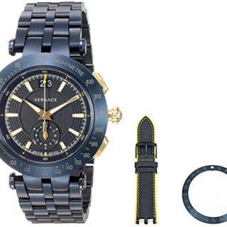 Versace Men's 'V-Race' Swiss Quartz Stainless Steel Casual Watch, Color Blue