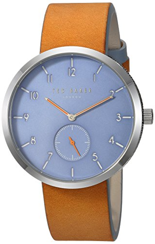 Ted Baker Men's 'JOSH' Quartz Stainless Steel and Leather Casual Watch, Color Brown