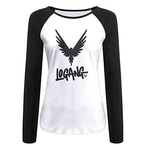 qingjin Women's Parrot Logan Paul Logang Long Sleeve Raglan Baseball T-Shirt