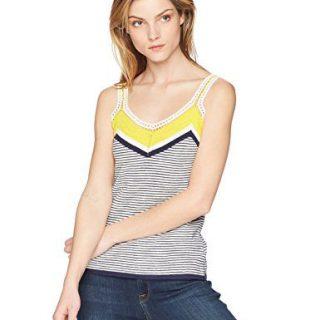 Trina Turk Women's Claremont Sweater Knit Top, Sunshine/Indigo, Medium