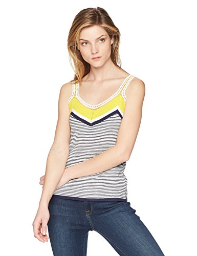 Trina Turk Women's Claremont Sweater Knit Top, Sunshine/Indigo, Medium